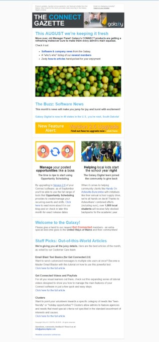 A capture of the sections in the Galaxy Digital newsletter for current clients