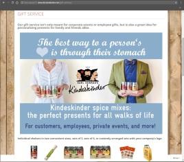 Kindeskinder gift service website page including postcard and sales product overviews