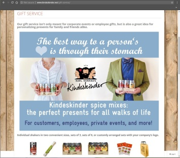 Kindeskinder gift service website page including postcard and sales product overviews
