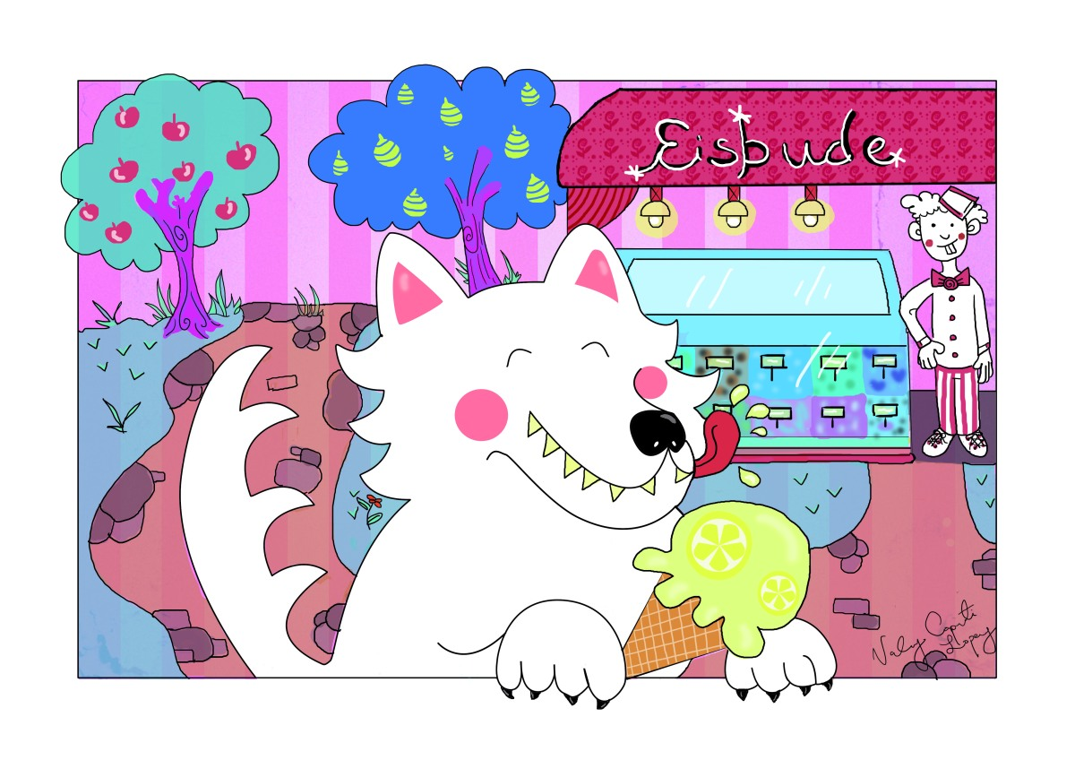 Vector illustration of white wolf eating a lemon ice cream