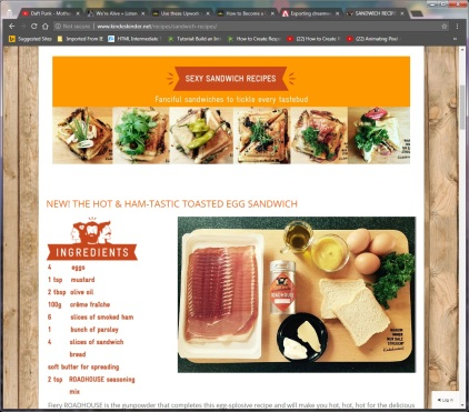 Kindeskinder Sexy RECIPES page capture featuring the hot and hamstastic toasted egg sandwich recipe